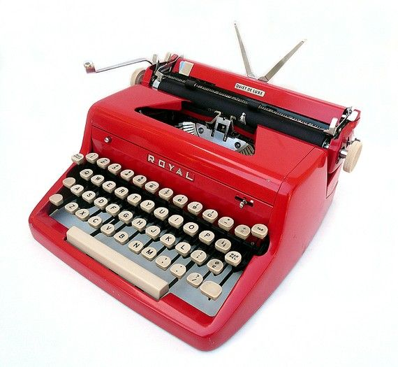 Every writer needs a vintage typewriter. This one is a red royal quiet deluxe typewriter from 1955.