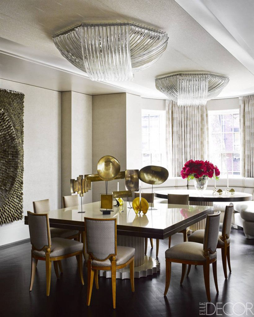 Luxurious Modern Dining Room With Oversized Flush Mount Lucite Light Fixtures Quirky Art Deco Chairs