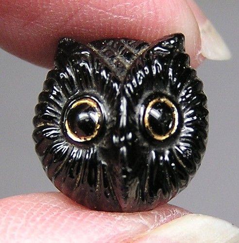 Antique black glass owl button