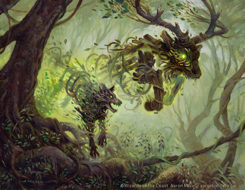 Magic The Gathering Going Green Another Set Of Mtg Art Magic Art Creature Art