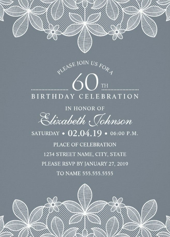 Bluish Grey Lace 60th Birthday Invitations