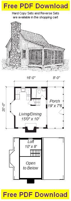 Cool Floor Plan 16x20 Small Cabin Plans Cabin Plans With Loft Small House