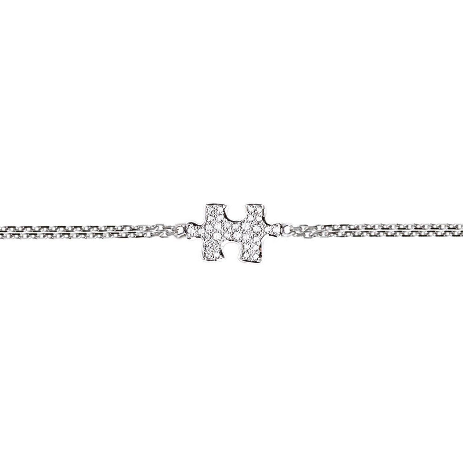 Akillis Puzzle White Gold Half Set With Diamonds Bracelet lexnjwIT