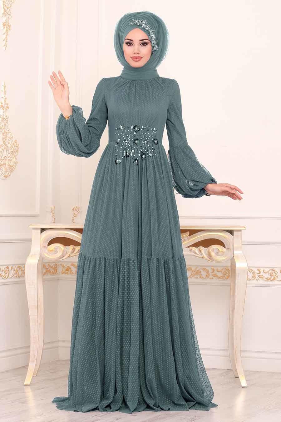 Tesetturlu Abiye Elbise Balon Kollu Indigo Mavisi Tesettur Abiye Elbise 38940im Tesetturisland Com Elbise The Dress Aksamustu Giysileri