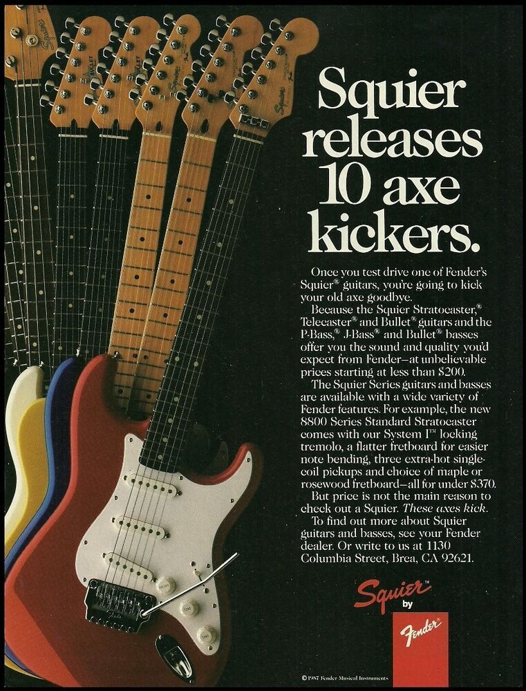 Fender Squier Stratocaster Telecaster Bullet guitar 1987 ad 8 x 11 advertisement #Fender #fenderguitars