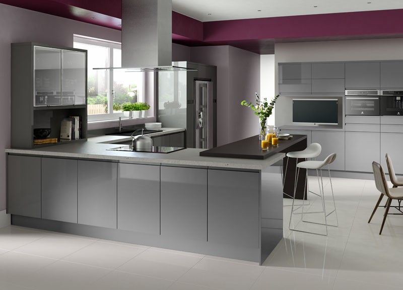 High Gloss Gray Cabinets | Houzz