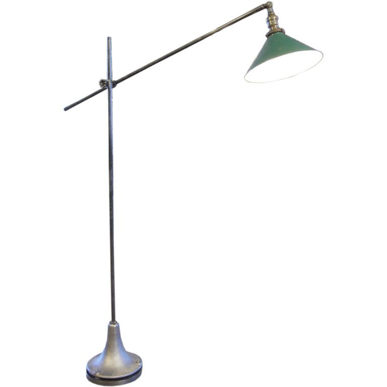 Vintage industrial factory metal cast iron floor lamp reading vintage industrial floor lamp from a unique collection of antique and modern floor lamps at aloadofball Images