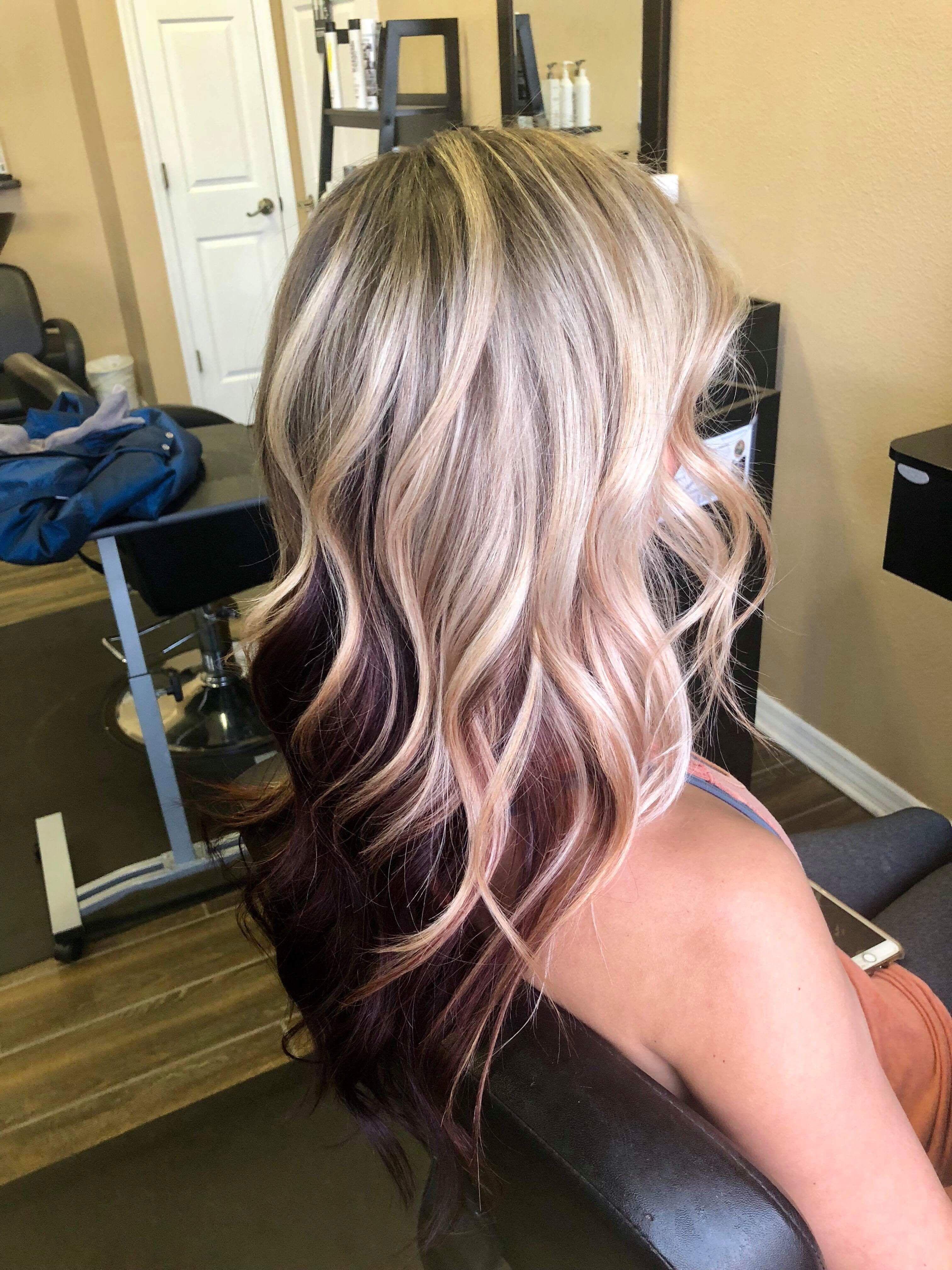 Balayage Blonde With Red Underneath Blonde Hair Tips Hair Color Underneath Burgundy Hair