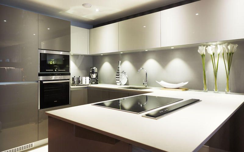 Modern Luxury Kitchen Design With Gloss Furniture For Small Space