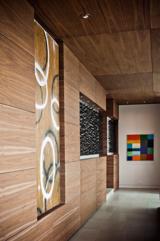 Contemporary Wood Panel Kitchen Trueline Woodworks Inc