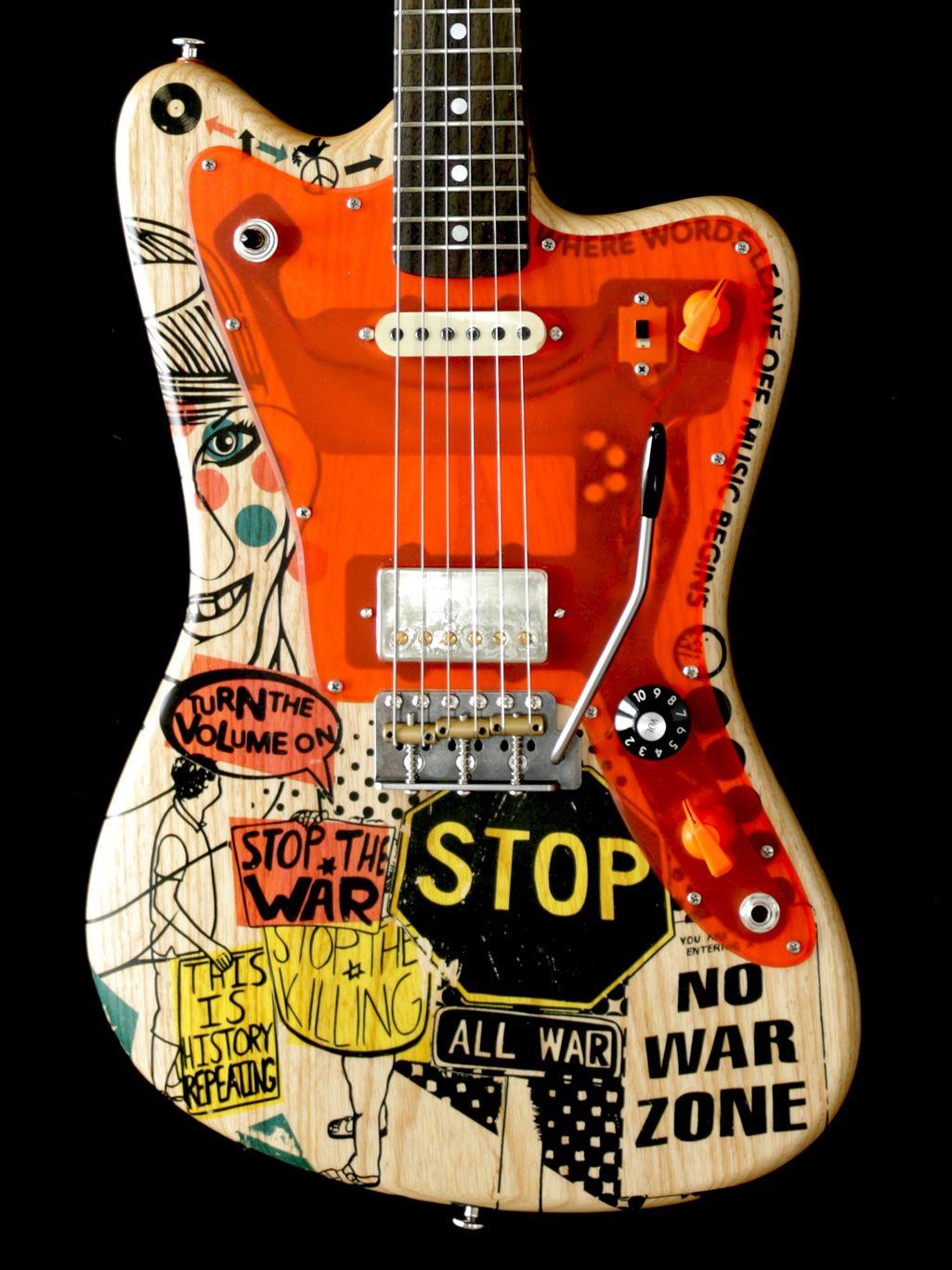 The Deimel Firestar Artist Edition Stop The War 2 Was Built By Kora Frank In 2016 And It Is A Tribu Custom Electric Guitars Custom Bass Guitar Music Guitar
