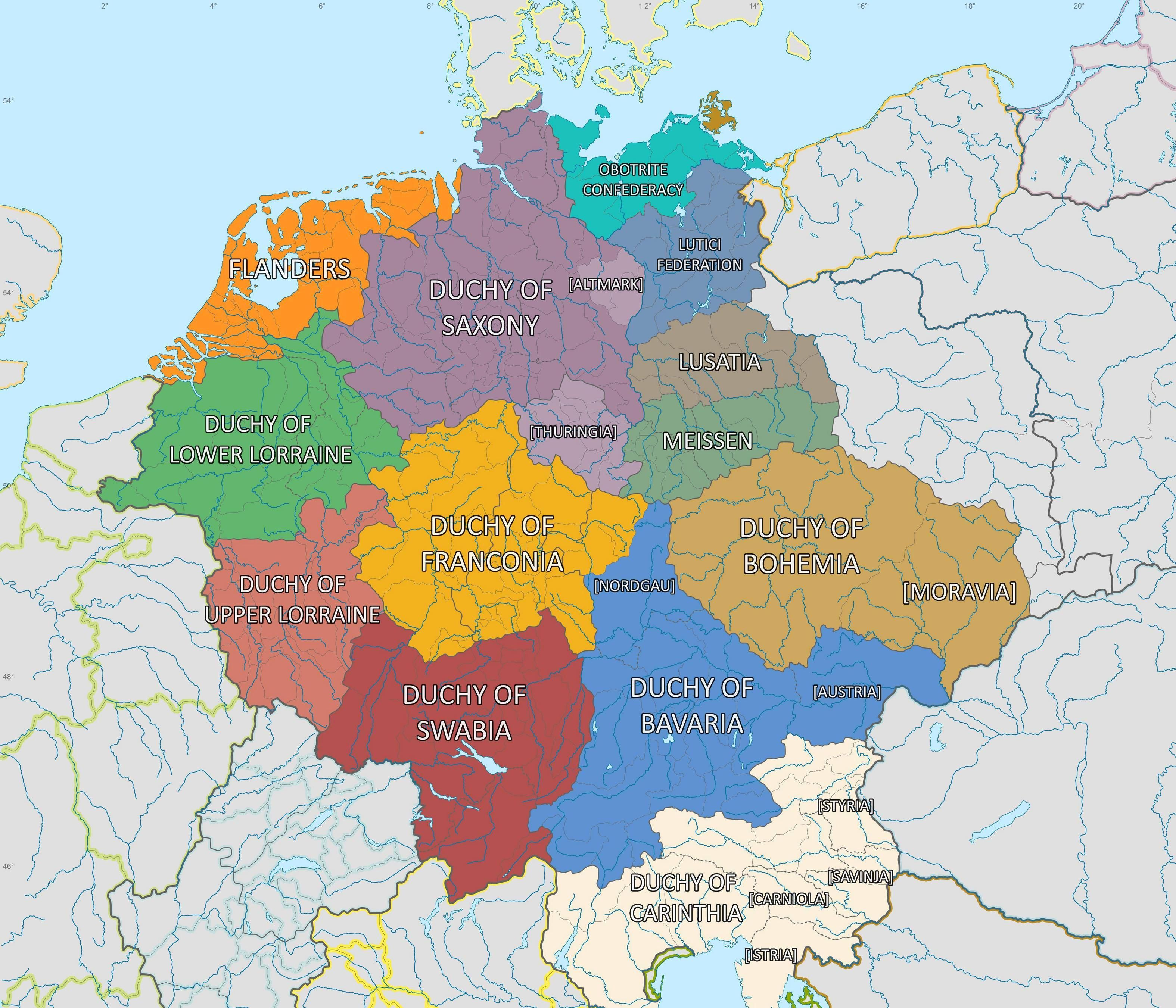 Stem Duchies Of The Holy Roman Empire In Addition To Other