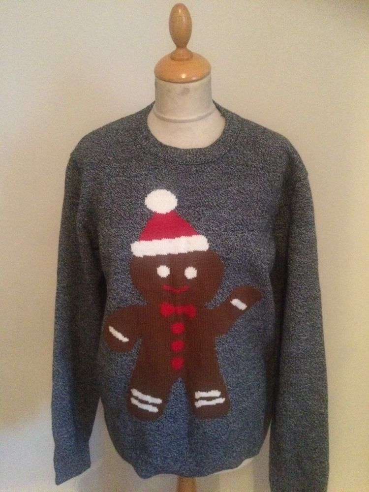 Mens Gingerbread Man Christmas JUMPER SIZE L | Christmas jumpers ...