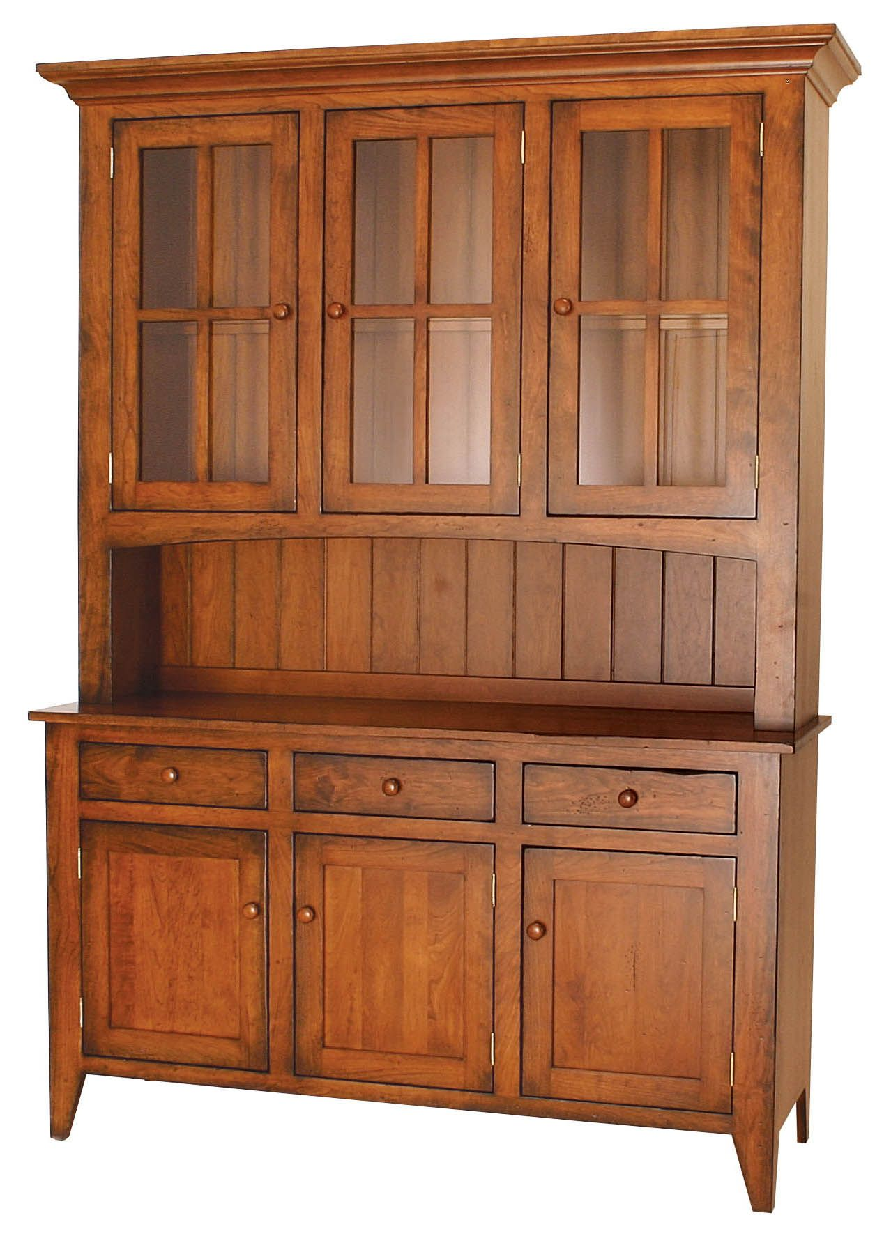 Ashville Farmhouse Cherry Wood Hutch Amish Furniture Solid Mission Shaker Chicago Area Illinois
