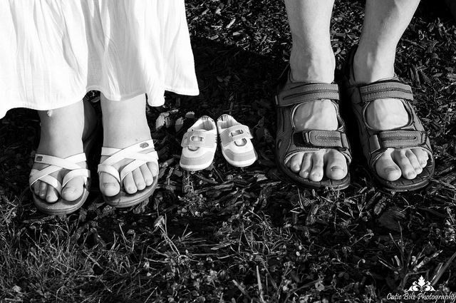 but barefoot for mom & dad. and 2 pairs of shoes. obviously.