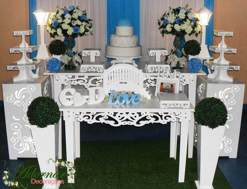 Aluguel Decoração Casamento e Noivado Azul Turquesa e Branco ... bc3d159fb10