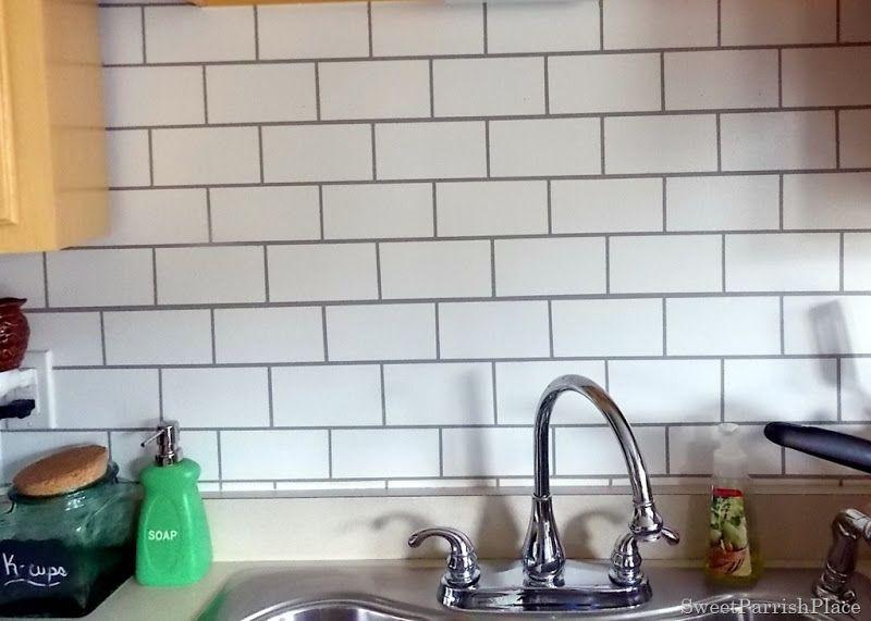 Diy Faux Subway Tile Backsplash Sadly Would Not Work Behind A Stove But Really Nice