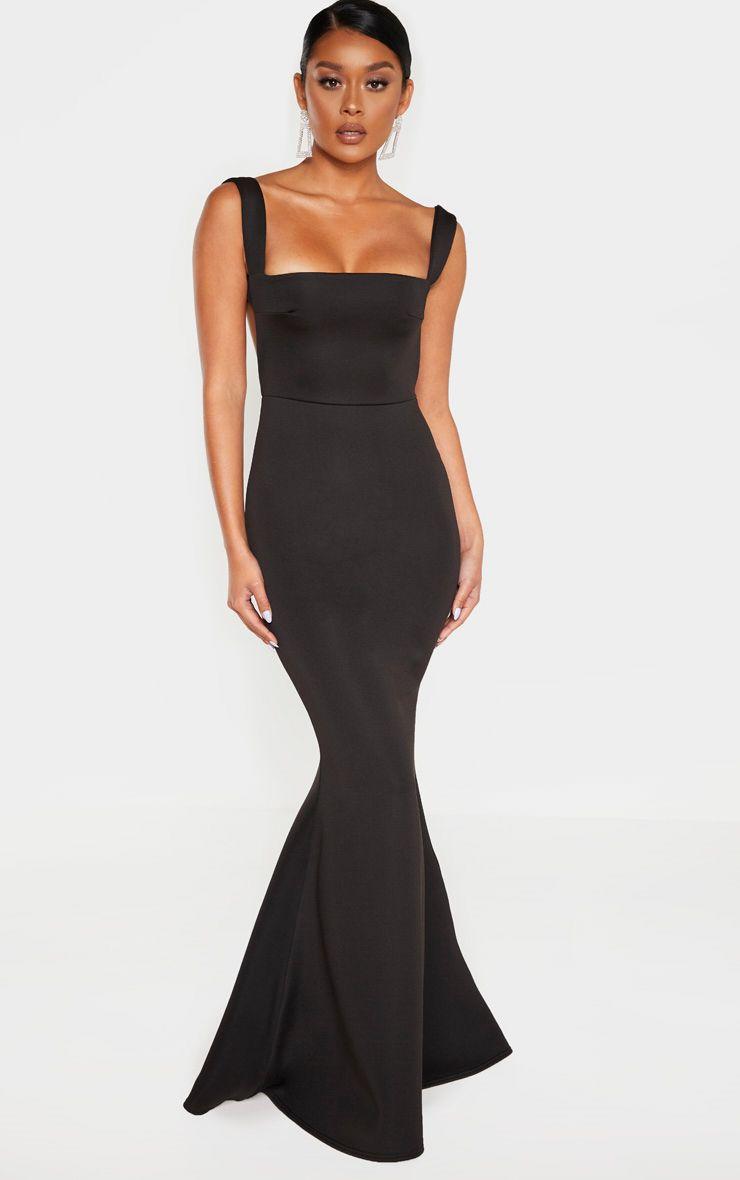 Black Square Neck Bodycon Dress Bodycon Dress Neck Bodycon Dress Basic Black Dress [ 1180 x 740 Pixel ]