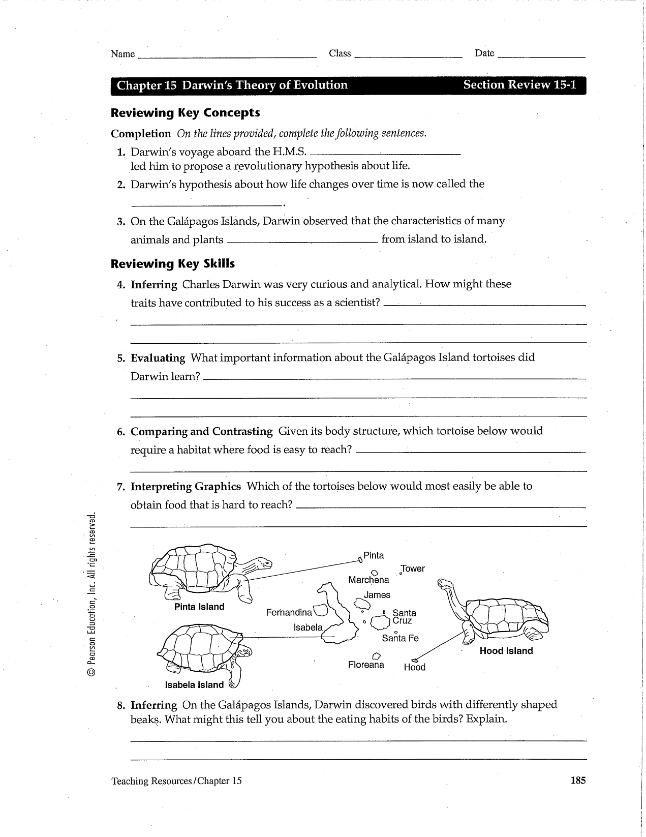 Darwin's Theory of Evolution Worksheet | Chapter 15 Darwin's ...