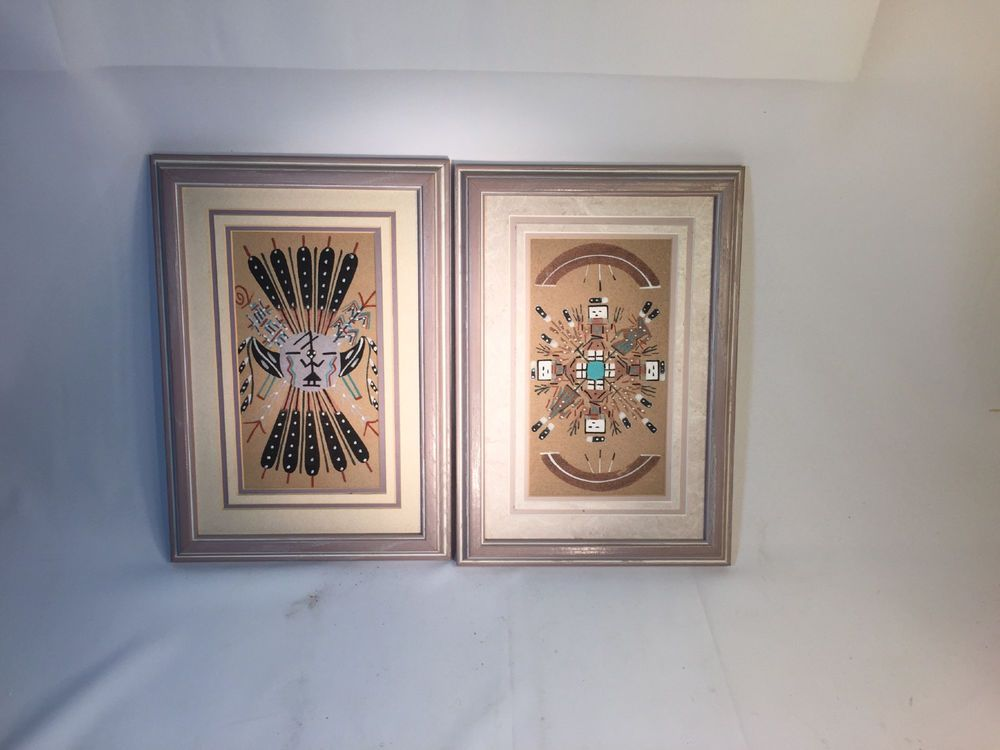 Vintage Pair Of Authentic Navajo Sand Paintings Signed 13 5 In By