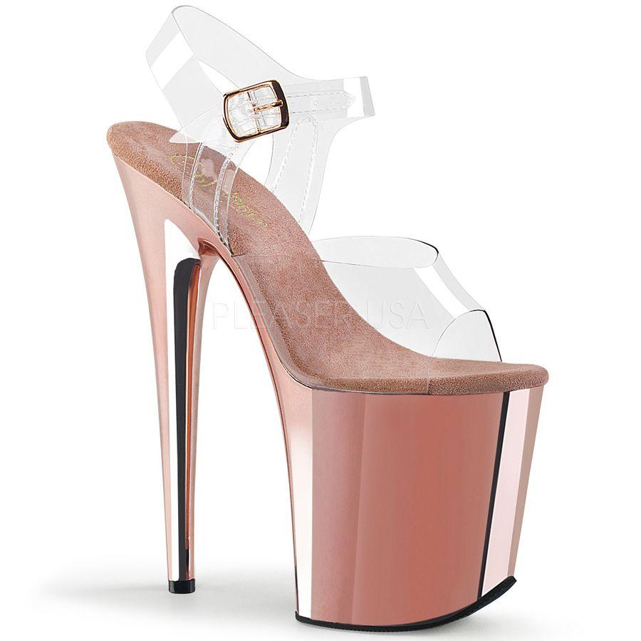Pleaser Flamingo 808 Clear Cream Platform Ankle Strap Pole Dancing Sandals