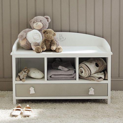banc enfant en bois blanc ourson maisons du monde d co home sweet home pinterest. Black Bedroom Furniture Sets. Home Design Ideas