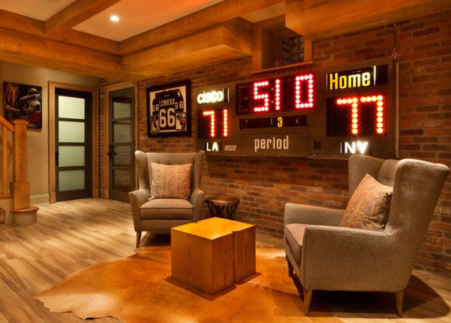 RoomAwesome score panel  I also love the brick wall    Man Cave  . Basement Ideas For Men. Home Design Ideas