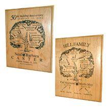 "12""x15"" Custom Engraved Bamboo Family Tree Plaque"