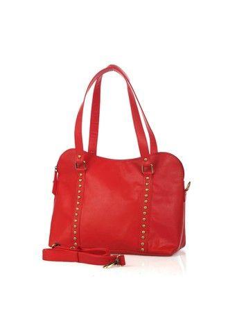 Red Riveted Shoulder Bag