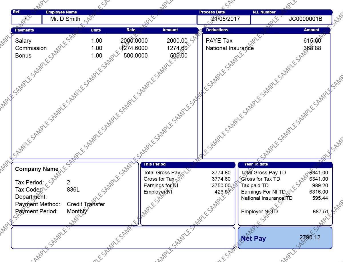 Blue Payslip Design 2 Digital Only Copy Year Of Dates Company