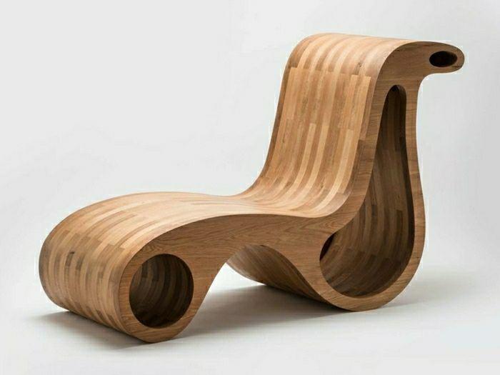 Chaise longue en bois moderne fauteuil design Giorgio