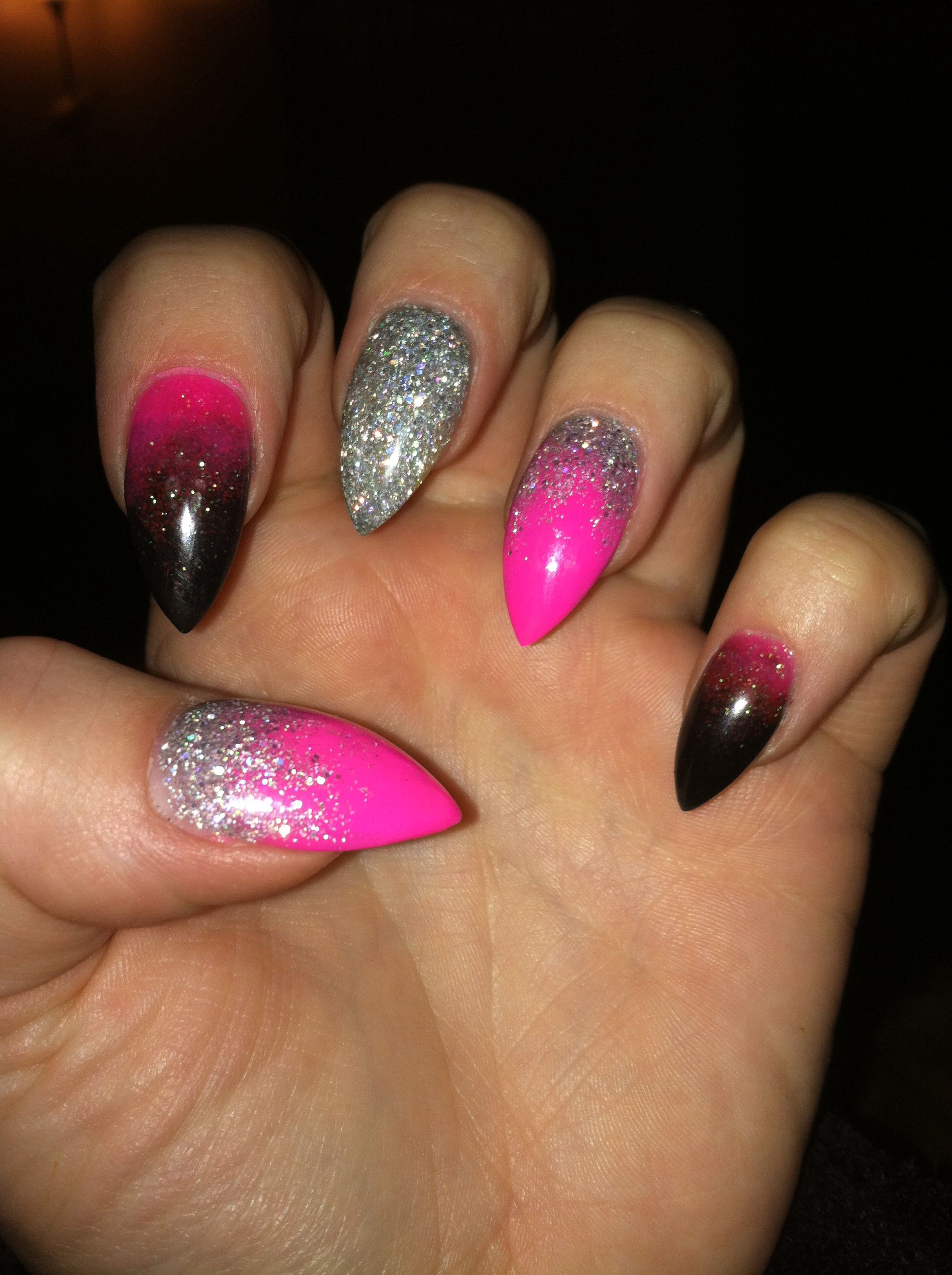 Pink Silver Black Stiletto Acrylic Nails