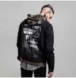 5a79c1e8f Men's Printed Patch Back Distressed Black Denim Jacket in 2019 ...