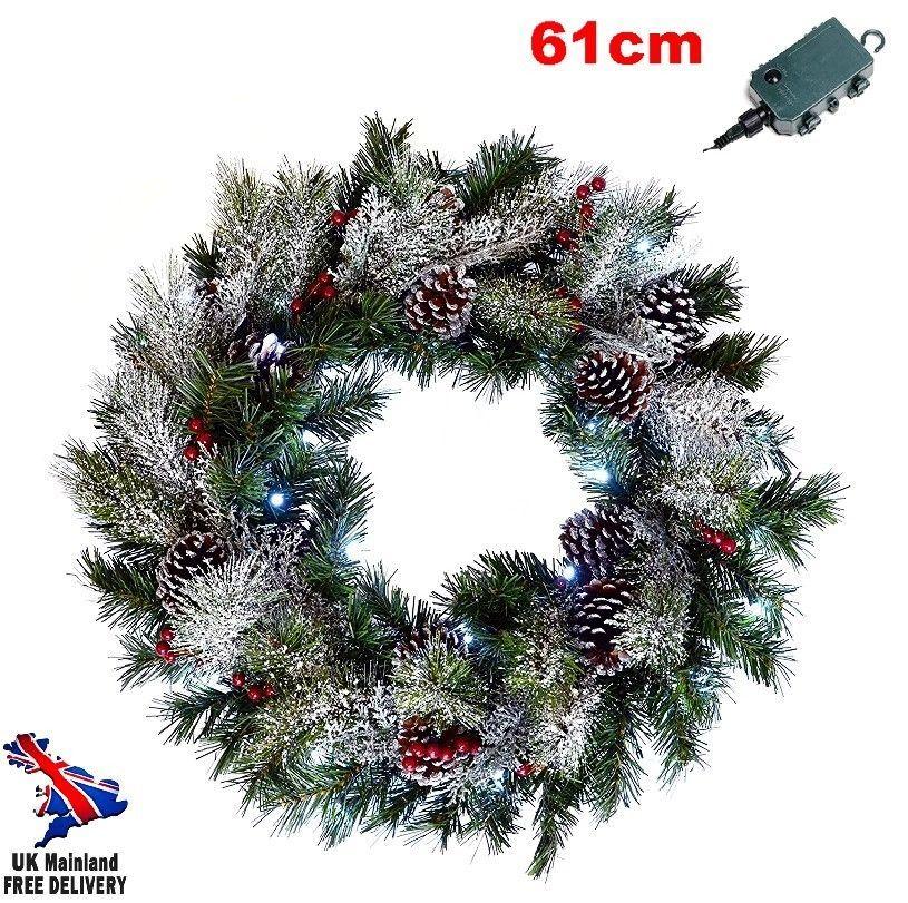 Giant Christmas Wreath Large Pre Lit Lights Up Bulb Red Berries Wall Door Decor Christmas Xmas Seaso Christmas Wreaths Frosted Christmas Wreath Xmas Wreaths