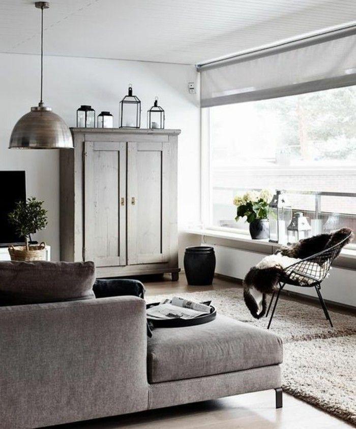Déco Salon u2013 salon moderne de couleur grège, canape du0027angle gris