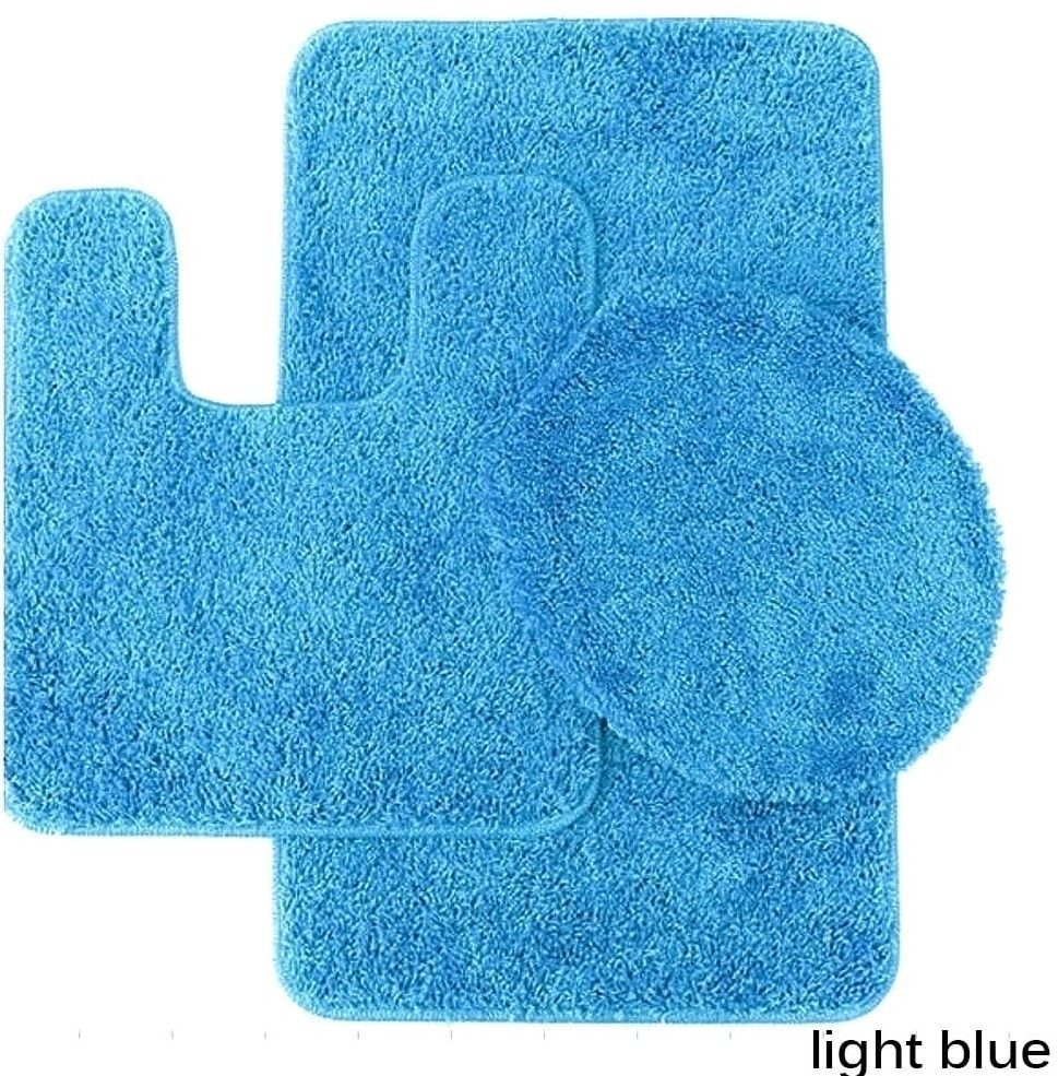 Light Blue Bathroom Rug and Toilet Seat Cover with Non-Skid Backing ...