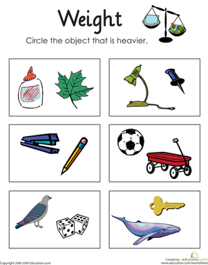 First Grade Measurement Worksheets: Heavy or Light: Measuring Weight