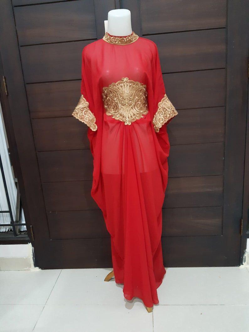 Moroccan Dubai Kaftan Red Gold Lace Abaya Maxi Dress Wedding Etsy In 2020 Maxi Dress Wedding Maxi Dress Dresses
