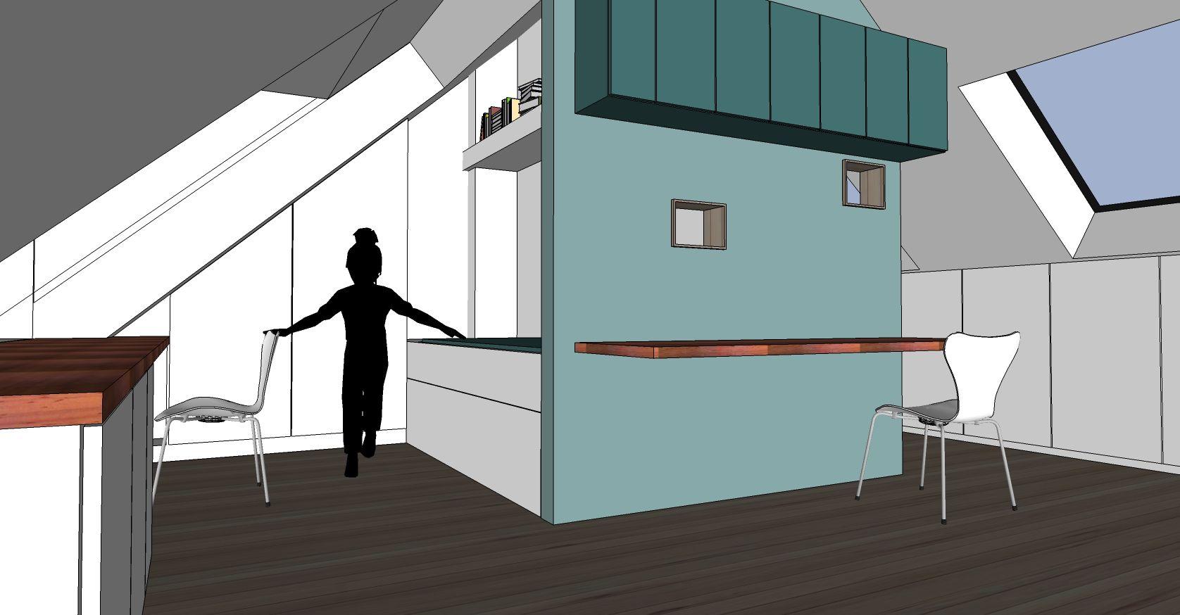 Inrichten zolder architect a.wildro en interieurvormgever k