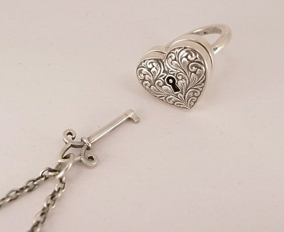 Sterling Silver Locking Engraved Heart Ring With Seperate