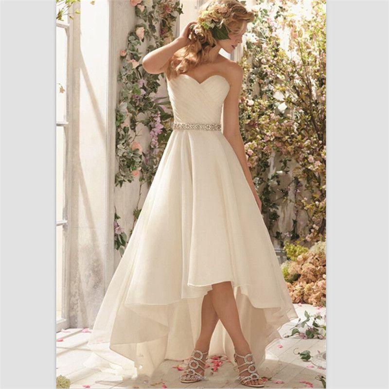 $125 gasa Hi Lo boda vestidos novia De encargo corto moldeado De la ...