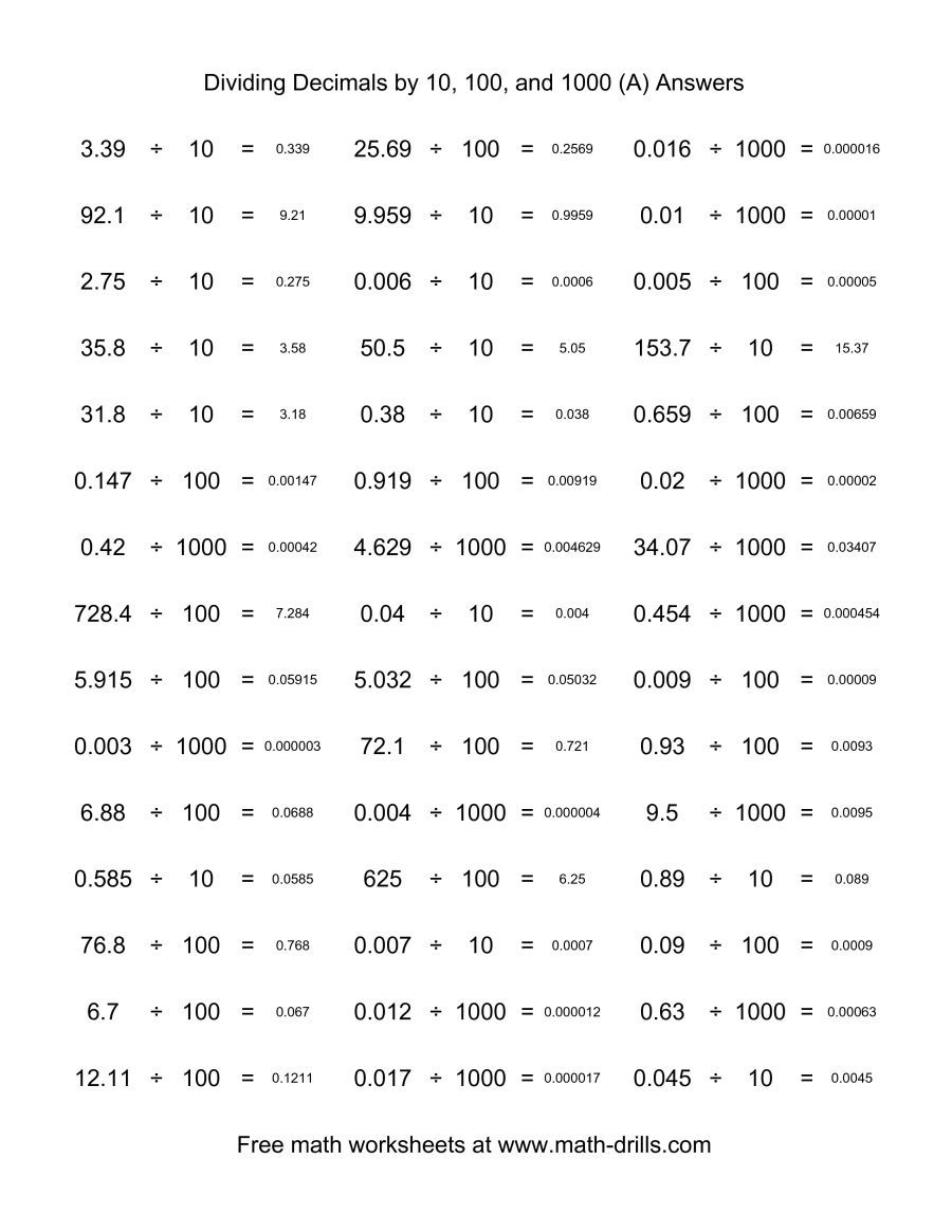 The Decimal Divided By 10 100 Or 1000 Horizontal 45 Per Page A Math Worksheet Page 2 Dividing Decimals Basic Math Worksheets Decimals