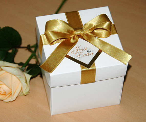 Gold Wedding Favor Boxes with satin ribbon, bow and tag