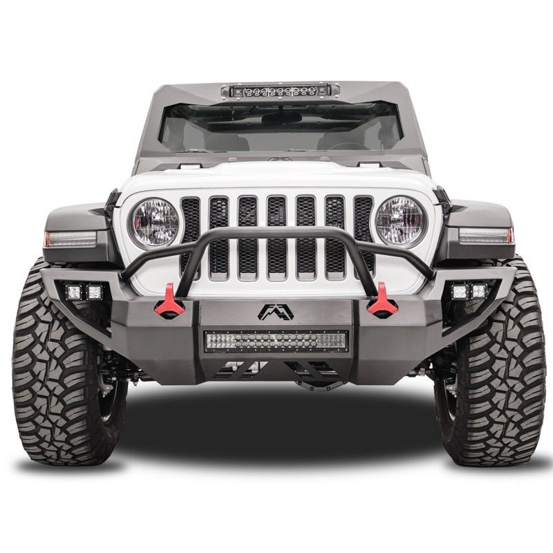 Fab Fours Vengeance Front Bumper With Pre Runner Guard Black Powder Coat Steel Pre Runner Jeep Wrangler Bumpers Jeep Bumpers
