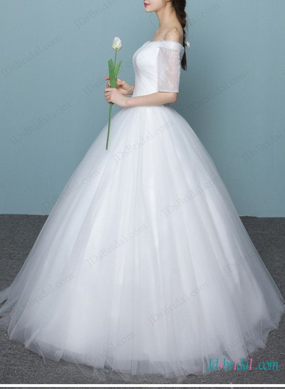 Dreamy white tulle 1/2 length sleeved princess off shoulder ball ...