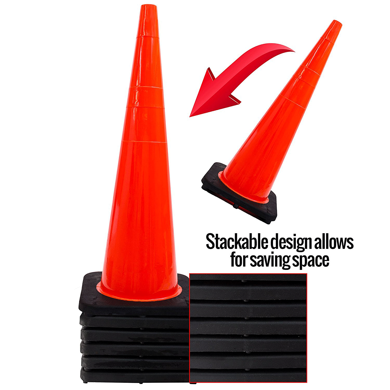 "(Set of 6) 36"" Orange Traffic Cones Construction safety"