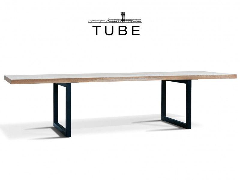 table tube acier brut et plateau rectifi ch ne massif sur mesure table ch ne et acier. Black Bedroom Furniture Sets. Home Design Ideas