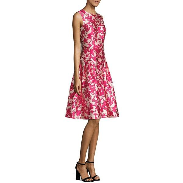 Carmen Marc Valvo Floral Printed Fit & Flare Dress ($495) ❤ liked on Polyvore featuring dresses, sleeveless fit and flare dress, back zipper dress, crew neck dress, floral print fit and flare dress and carmen marc valvo dress