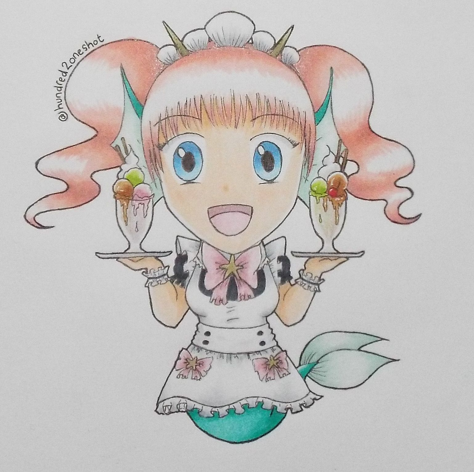 A chibi version of our 'Mer-Maid' design. Hoping to make this into some kind of pattern in the future. #mermaid #maid #chibi #anime #manga #girl #copic #illustration #design #kawaii