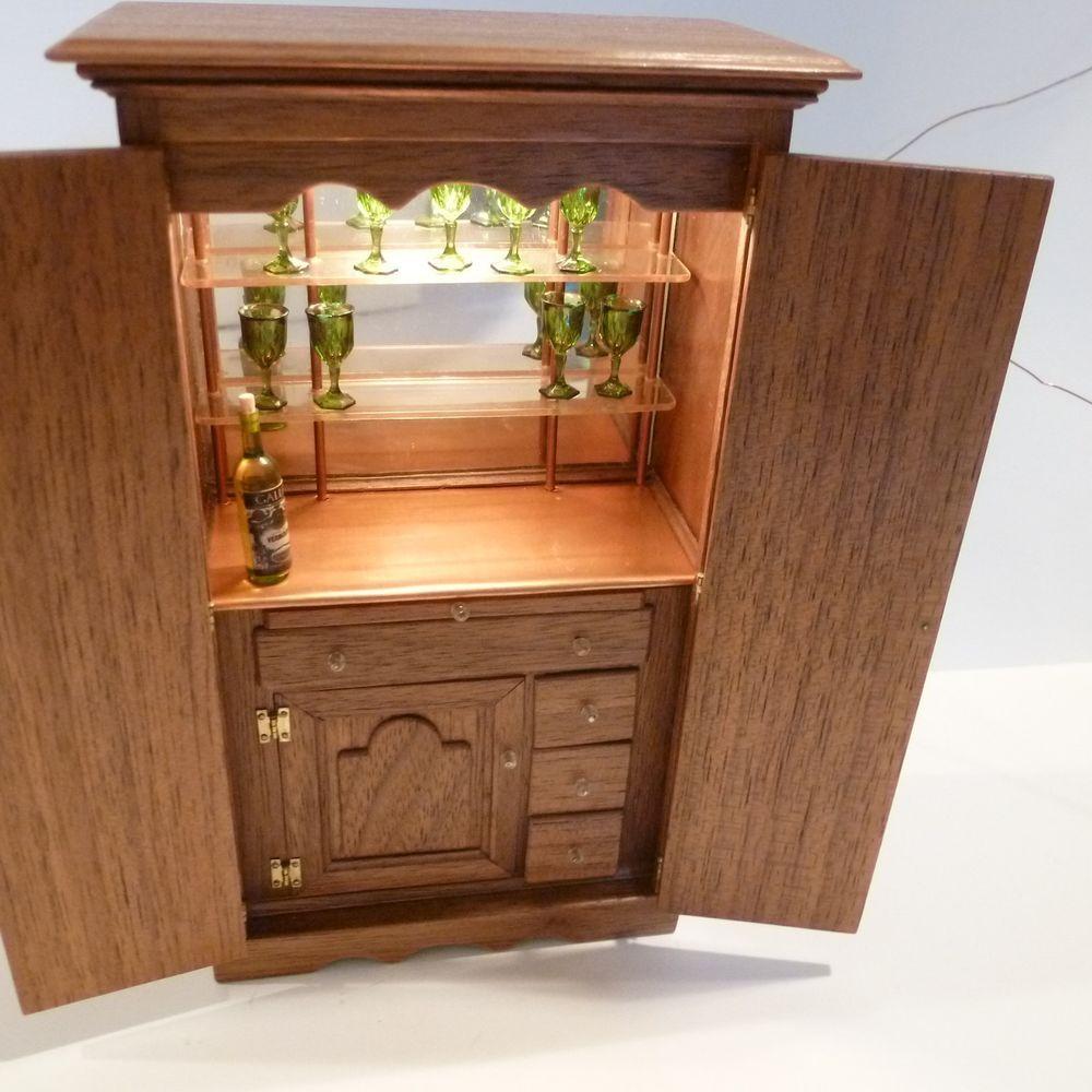 Exquisite Miniature Cabinet W Drawers Shelves Bar Door Lights Up J Hartzell 85 Drawer Shelves Home Decor Shelves
